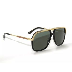 Gucci Sunglasses Black Gold Frame and green Lens